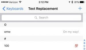 Text replacement using iPhone Phrases