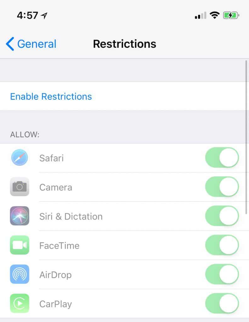 App restrictions are limited in iOS 11