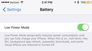 iPhone Low Power Mode On