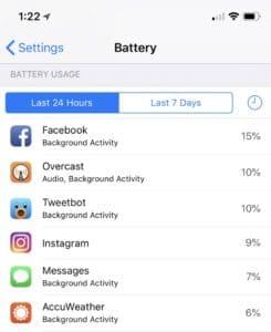 iPhone Settings - Battery